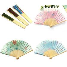 Flower Chinese Japanese Silk Bamboo Dance Folding Hand Held Fans Wedding SH