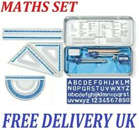 Compact MATHS GEOMETRY SET Compass Ruler Protractor Sharpener SCHOOL Exam UK