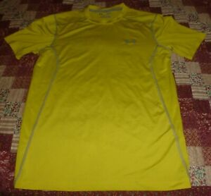 """Fitted Yellow UNDER ARMOUR T-Shaped SHIRT Size Small, Chest=40"""" To 44"""", VG/Exc"""