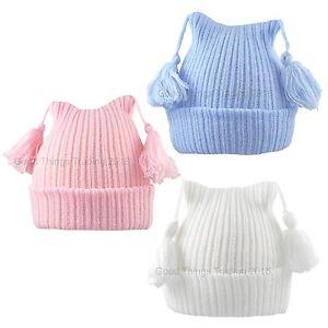 Baby Hat Beanie Cap Boy Girl Winter Knitted With Tassels 0-3 Months, 3-6 Months