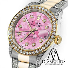 Women's 31mm Rolex Oyster Perpetual Datejust Custom set Diamonds Dial PinkFlower