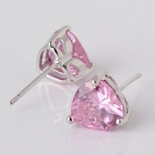 Artistic pink sapphire heart eye-catching 18K white gold filled stud earring
