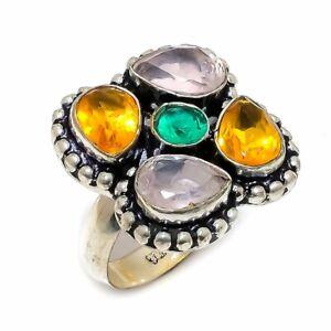 Citrine  Rose Quartz Emerald  Gemstone 925 Sterling Silver Jewelry  R-17 Ring 8