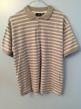 Beverly Hills Polo Club Men's Shirt Gray White Stripes Short Sleeve Size Large