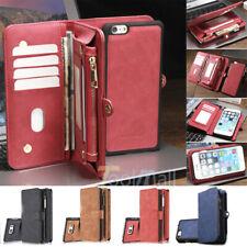Cartera De Cuero Magnético Abatible Tarjeta Extraíble Estuche Cubierta para iPhone 7 6 6S Plus 5S