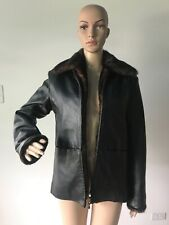Kathy Ireland Black Leather Jacket Coat Removable Brown Faux Fur Trimmed Liner S