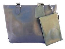 BUCINI Handmade Genuine Leather Cowskin Women's Tote Bag with Pouch-GREEN