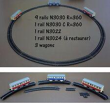 Rails train LIMA + 3 wagons dont 1 SNCF ancien vintage