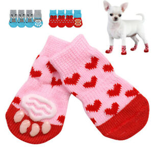 4PC Cute Dog Cat Anti-Slip Knit Sock Winter Indoor Wear Slip On Paw Protector JG