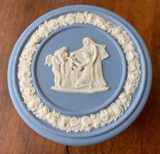 Vintage Wedgwood JASPERWARE Blue Round Trinket Box Pegasus, Muses & Cherubs