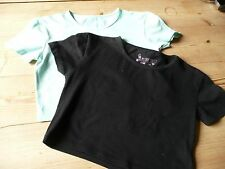 2 x Girls Crop tops Cropped T shirts Black and Mint Green