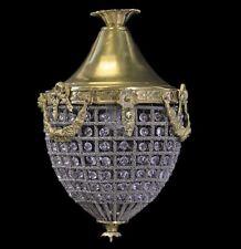 Éclairage style baroque suspendu lampe laiton + CRISTAL-OR 35 cm #MB60