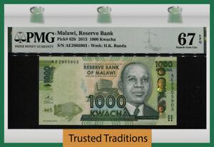 TT PK 62b 2013 MALAWI RESERVE BANK 1000 KWACHA STUNNING PMG 67 EPQ SUPERB GEM