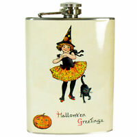 8 oz Stainless Steel Hip Flask Witch Girl Halloween Greetings Gift Vtg Img Decor