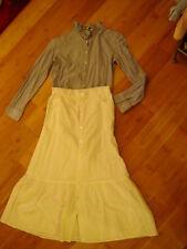 Victorian Prairie western 2 pc dress lady blue white  blouse white skirt  6