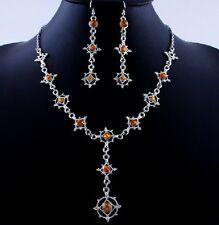 Barroco Set Cristal Gótico AMARILLO collar pendientes novia adorno de traje 15g