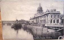 Irish Postcard CUSTOM HOUSE & Quay River Liffey Dublin Ireland Matte Lawrence