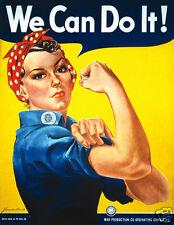 """'We Can Do It!' Woman, USA World War 2 Poster 10x8"""" reprint"""