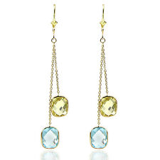 14K Yellow Gold Dangle Earrings with Lemon and Blue Topaz Gemstones