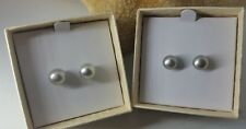 Honora 8MM GREY/SILVER Button PEARL Earrings WITH HAPPY BACKS NIB SURGICAL STEEL