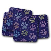 4 Set - Pretty Paw Prints Coaster - Dog Puppy Cat Kitten Pet Animal Gift #15416