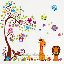 Giant Scroll Flower Tree Wall Stickers Children Kids Room Decal Owl Giraffe Lion