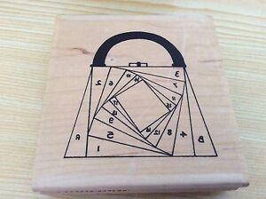 Iris folding rubber stamp square handbag  size 9.5 x 10cm wood mount.