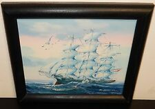 K.MASKELL SAILING SHIP ORIGINAL OIL ON BOARD PAINTING