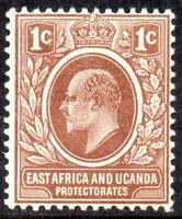 1907 East Africa & Uganda Protectorate Sg 34 1c brown Mounted Mint