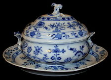 Antique Meissen Germany Blue Onion Oval Tureen w/ Lid and Platter
