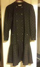 Vintage drop waist grey polka dot dress