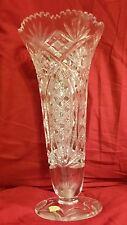 "Nachtmann Bleikristall  Crystal  Vase 14"" Hobstar,trumpet, fluted, sawtooth,cane"