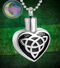New Irish Celtic Heart Cremation Urn Keepsake Ash Silver Memorial Necklace