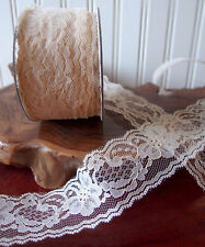 2 inch IVORY Floral Lace Ribbon for Decorating, Sewing, Floral Design - 25 Yards