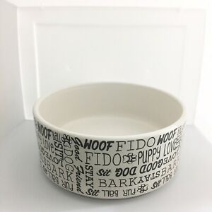 "Stoneware White Dog Bowl 6"" 2.5 "" Deep"