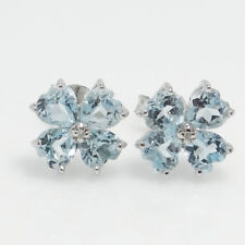 Sterling Silver Blue Topaz and Diamond Cluster Earrings
