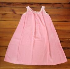 Vtg Saks Fifth Ave Silk Nightie Nightgown A-Line Daisies Baby Doll Negligee Pink