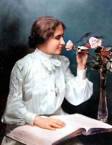 """1904 Helen Keller Vintage Photograph 8.5"""" x 11"""" Reprint Colorized"""