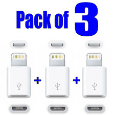 3x Lightning to Micro USB Adapter for Apple iPhone 6/5/5S, iPad Mini Air, iPod