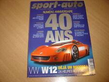 Sport Auto N°479 Morgan Aero 8.BMW M3 GTR.Spécial 40 ans du magazine