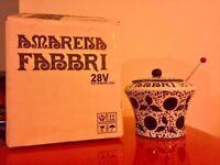 🔴 Amarena Fabbri vaso pubblicitario RARO FORMATO BAR completo mestolo