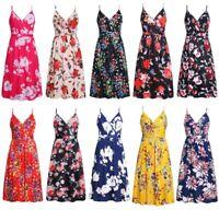 V Neck Dresses beach Floral Dress Women Sleeveless Long Casual Womens Fashion