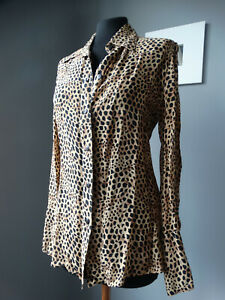 Blusa fantasia leopardata manica lunga chiffon M camicetta camicia blouse shirt