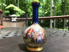 19th C. French Limoges Enamel Hand Painted Miniature Portrait Vase, SIGNED G.H.