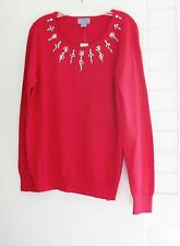 Laura Scott Womens Embellished Scoop Neck Sweater Red Sz L - NWT