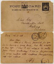 FIJI 1899 STATIONERY CARD + MESSAGE re FIRE WALKERS BEQA ISLAND to GEELONG