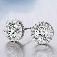 Women's 18K White Gold Plated Crystal Zircon Inlaid Ear Stud Earrings Jewelry BE