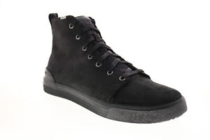 Toms Trvl Lite High 10014229 Mens Black Leather Lace Up Lifestyle Sneakers Shoes