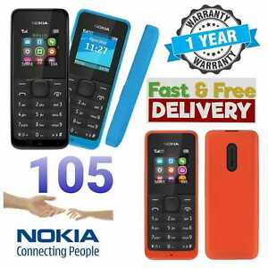 New Nokia 105 SIM Free Unlocked Mobile Phone Cheap Basic Black Blue and Red***