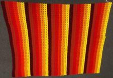 "Vintage Handmade 62"" Sunset Red Orange Yellow Stripe Knit Crochet Afghan Blanket"
